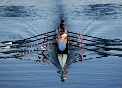 A screen grab of ladies rowing. It really doesn't look that that in real life.